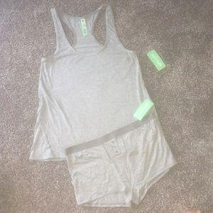 2 pc grey shorts tank top pajama matching set!